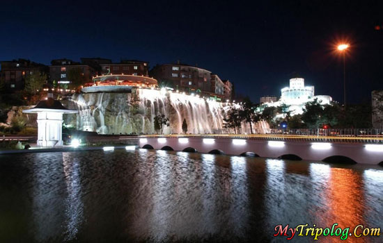 kecioren waterfall in ankara,kecioren,city,ankara,at night,Turkey