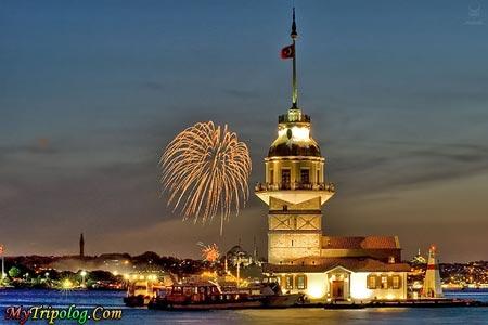 madien's tower istanbul night,kiz kulesi,istanbul,turkey