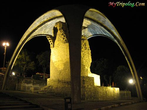 burial mound in Alaaddin Hill Konya,turkey,historical place,night