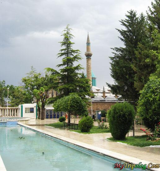 mawlana tomb in konya,mawlana jalal ad din rumi,rumi,tomb,konyaturkey,pool,trees