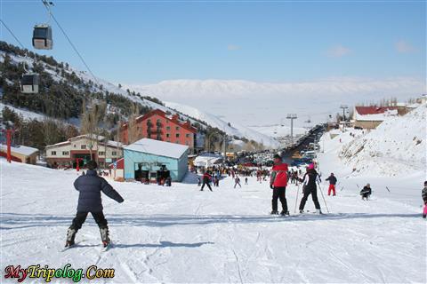 Skiing tourists on Palandoken Mount,palandoken,erzurum,winter,skiing,turkey
