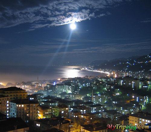 rize province at night,city,rize,turkey
