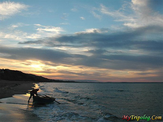 sunset in sinop,lonely,boatman,beach,turkey,landscape