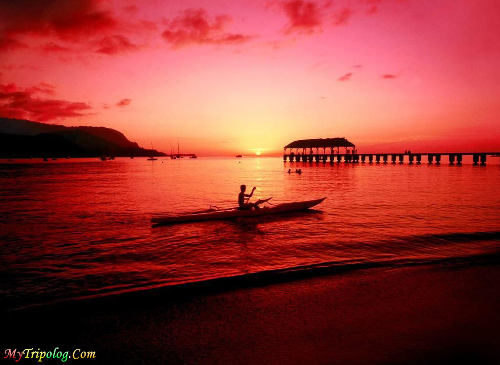 kayaker and sunset in kauai,hawaii,sunet,wallpaper,kayaker