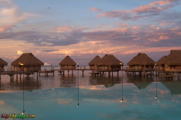tahiti,bora bora,island,water bungalows,accomodation,sea,sunet,landscape