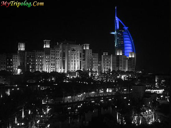 burj al arab hotel,view from trilogy,dubai at night,photshop design,dubai