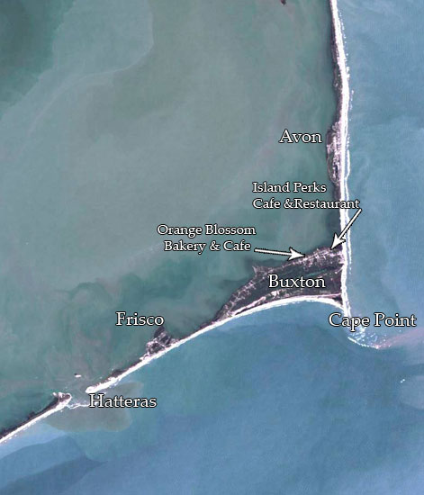 satellite map of hatteras island,Island Perks Cafe Restaurant,Orange Blossom,Hatteras,buxton,satellite map,nc,usa