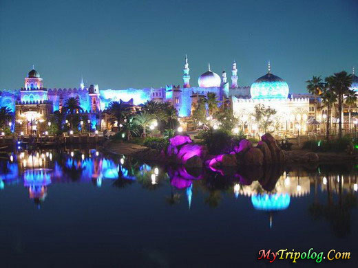 disneyland in dubai,disneyland,uae,night,lagoon,emirates