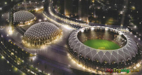 dubai sports city,stadium,uae,dubai,at night,united arab emirates