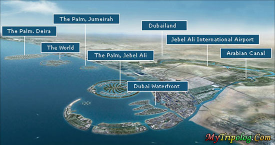 the world dubai map. dubai waterfront,the palm