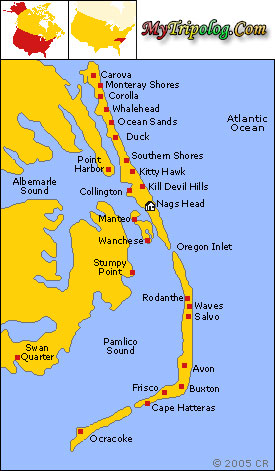 hatteras island map,buxton,north carolina,frisco,avon,ocracoke,rodanthe,kitty hawk,kill devil hills,USA