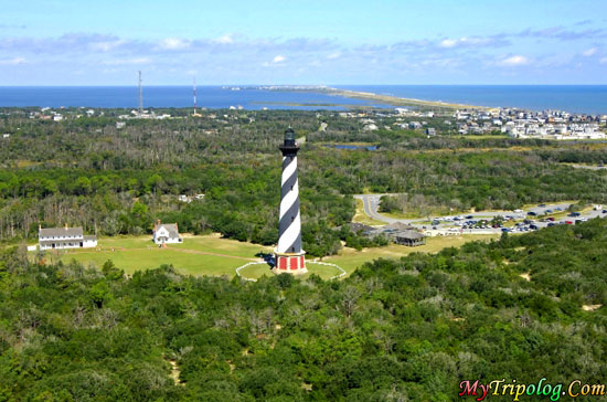 bird eye view of hatteras lighthouse and buxton,buxton,usa,hatteras lighthouse,NC