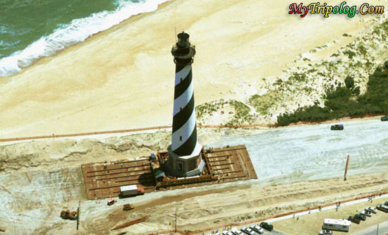 moving hatteras lighthouse,cape hatteras,buxton,usa,nc,hatteras lighthouse