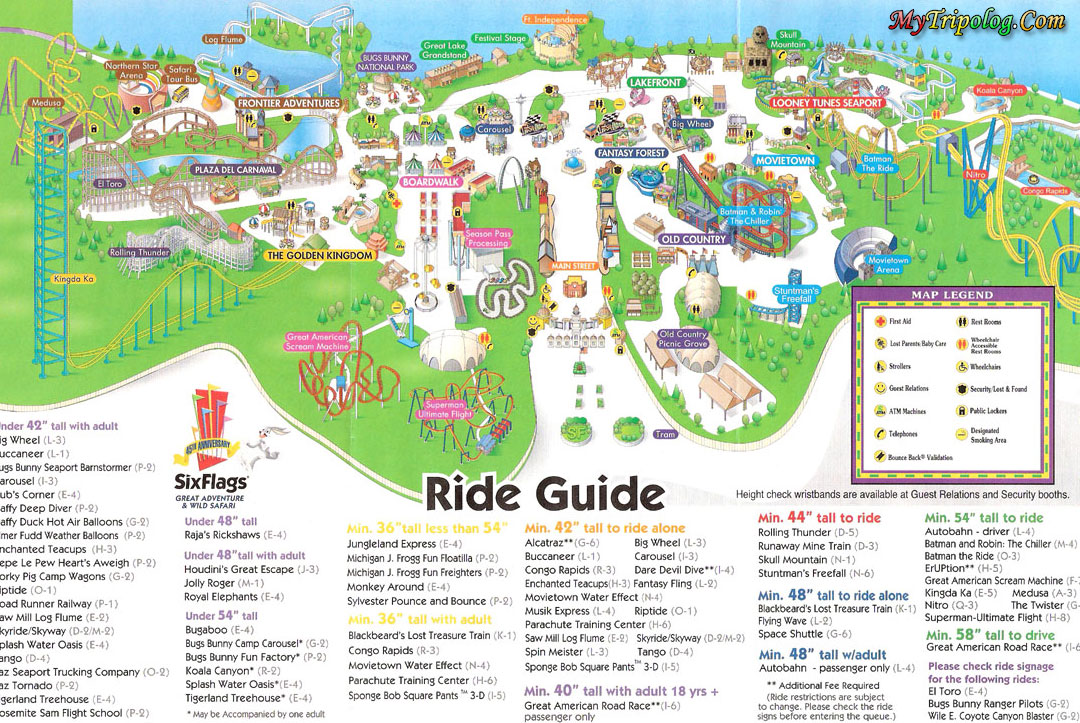 Six Flags Great Adventure Mapsix Flagsnew Jerseyamu T Parkusa