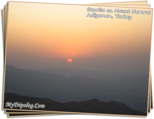 sunrise on mount nemrut,nemrut dagi,adiyaman,turkey,postcard,photoshop design