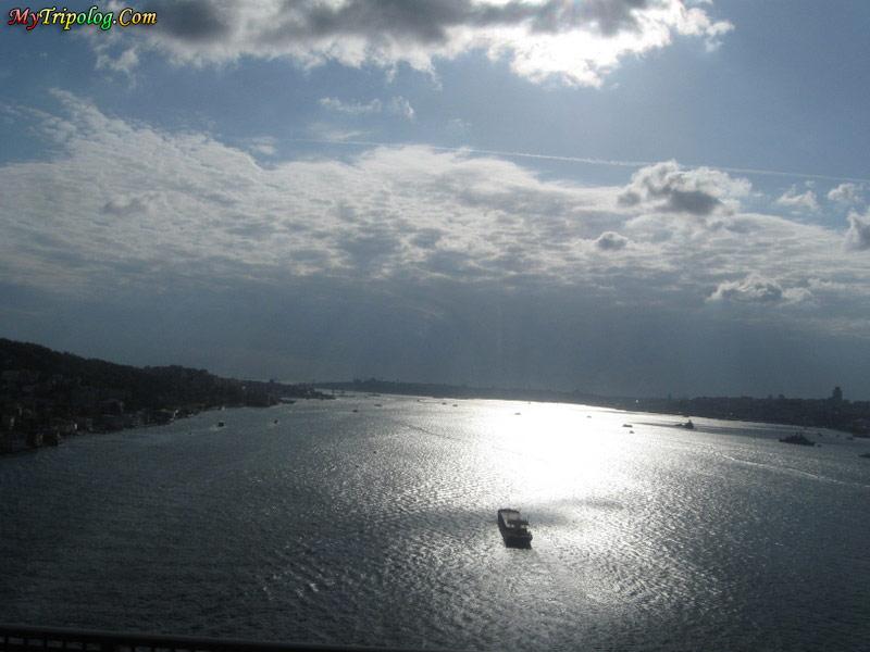 over bosporus bridge,sun rays over sea,bosporus,istanbul,turkey