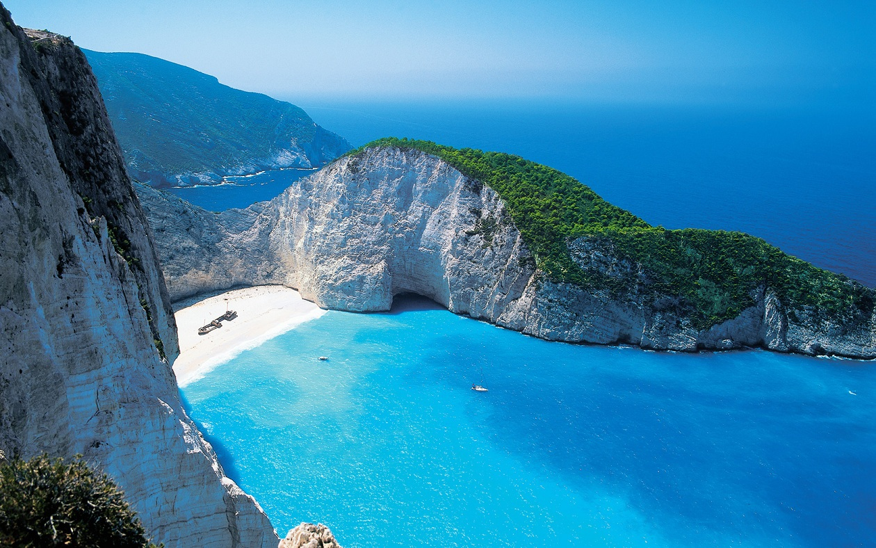 shipwreck beach wallpaper, greece turqoise water