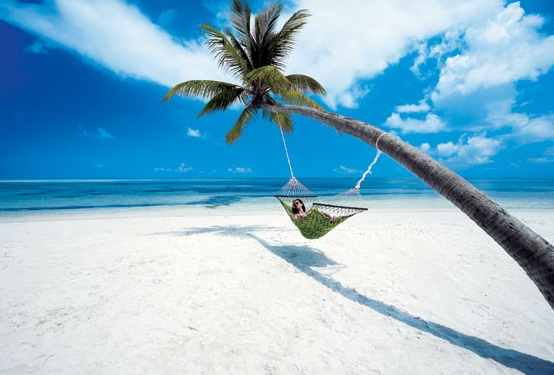hammocks on white sandy beach of maldives - .................best Island................