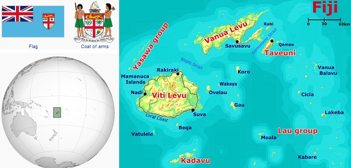 Where On Earth Is Fiji Islands On Map Travel Around The World