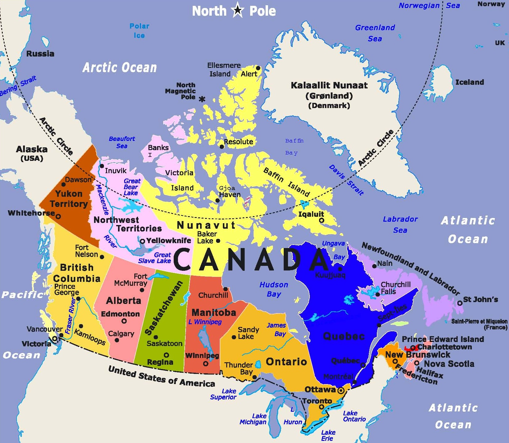 Largest Most Detailed Map of Canada and The Flag Travel Around The