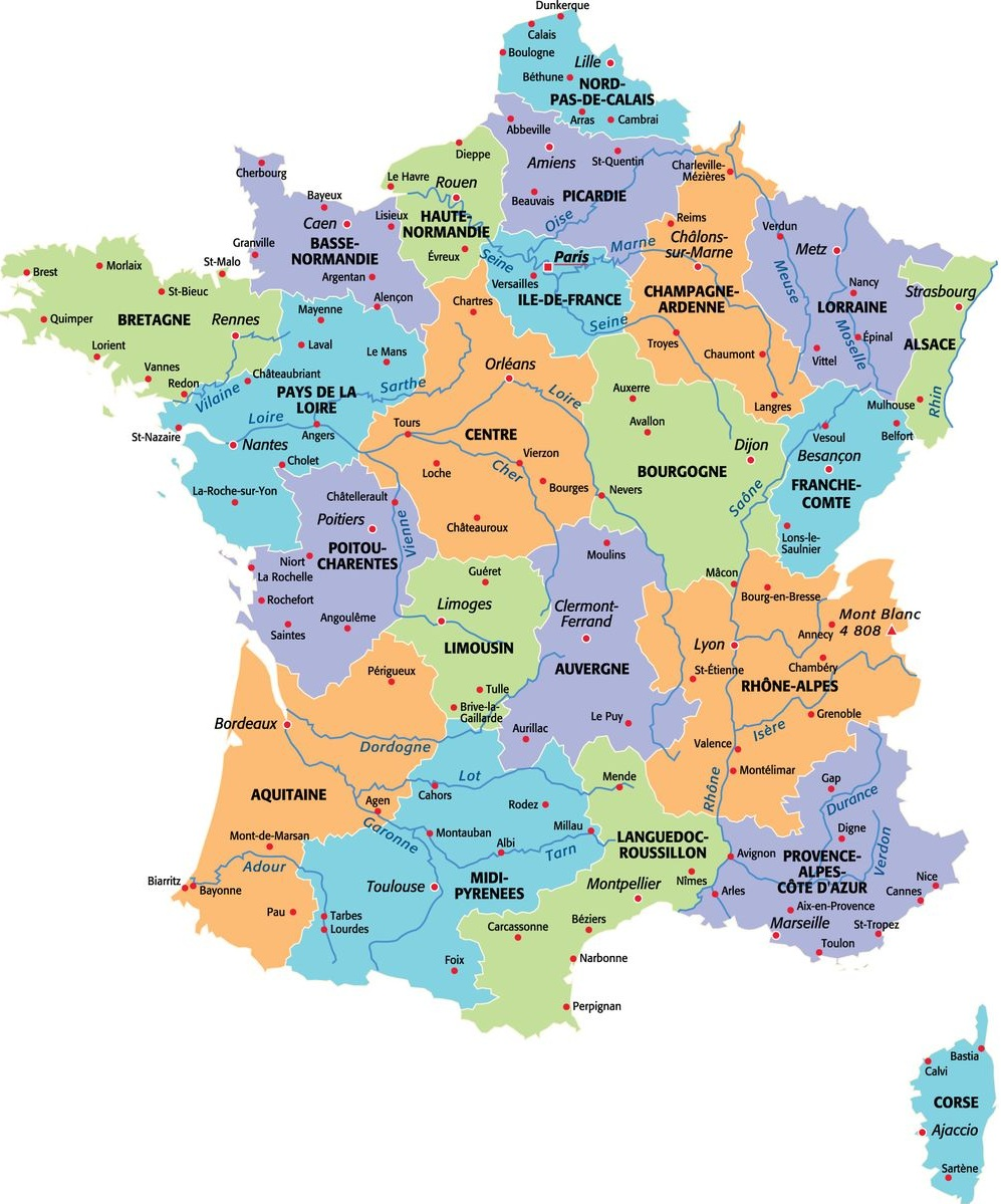 Large size political map of France – Travel Around The World