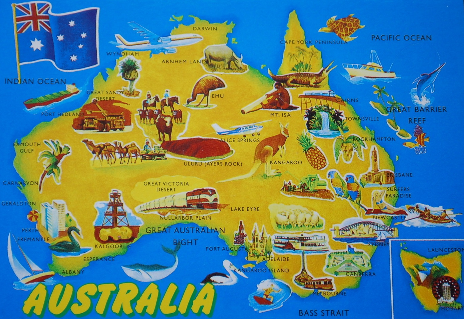 LargestMost Detailed Australia Map and Flag Travel Around The – Travel Maps Australia