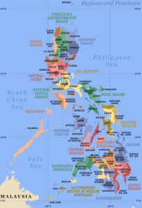 Philippines map showing provinces cities
