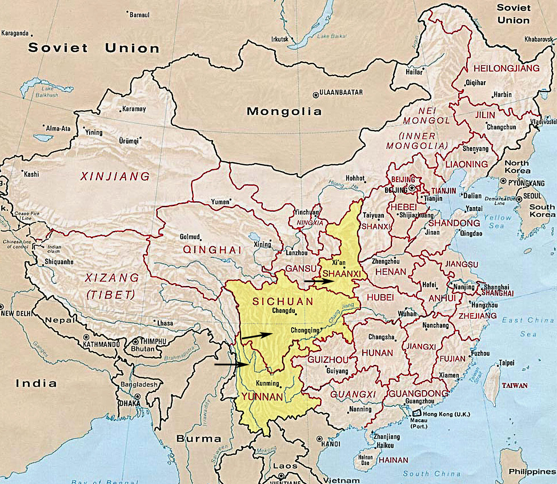 China map of provinces and the capital cities