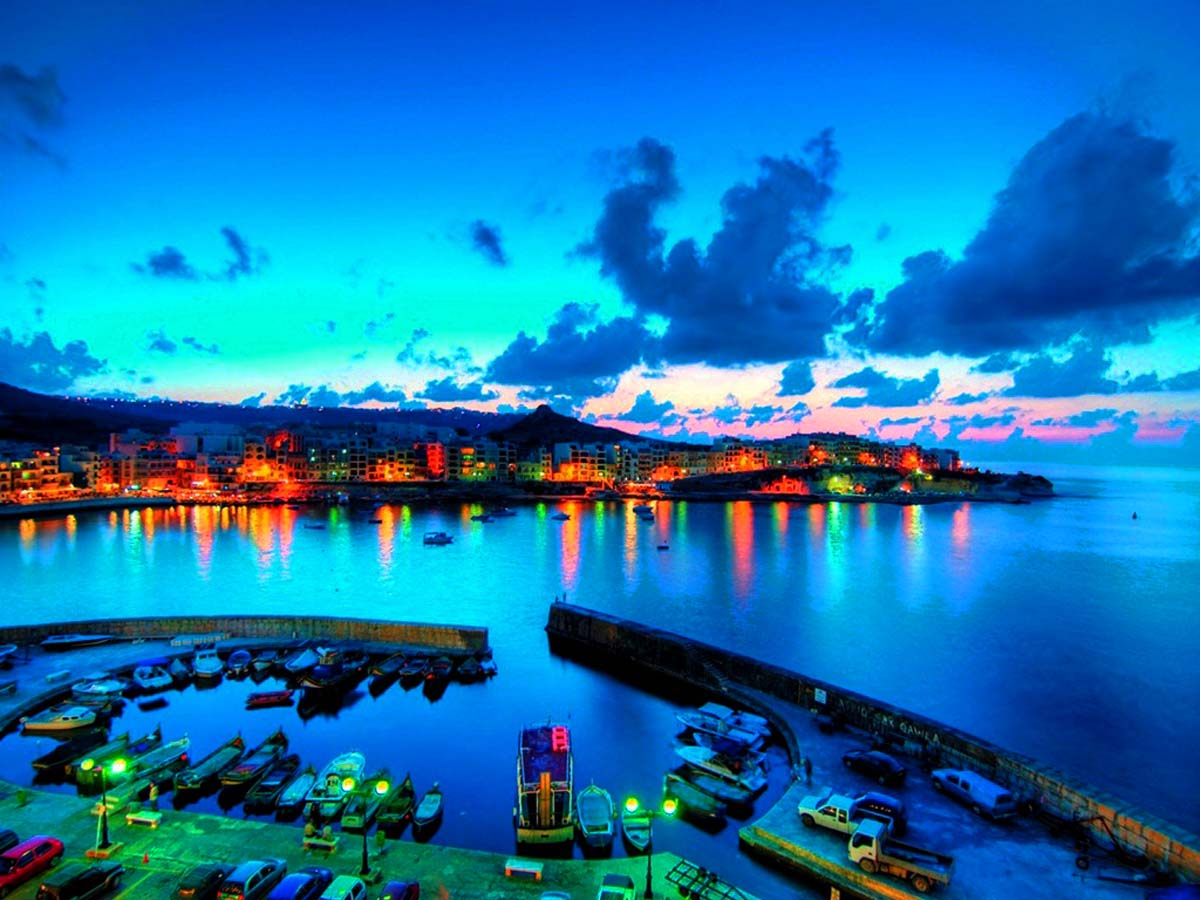 Lights over Gozo at night, Malta Island – Travel Around ...
