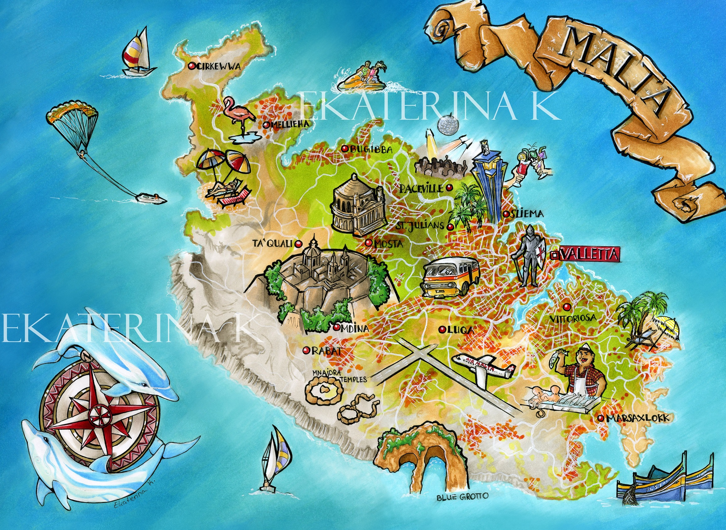 Malta Island Travellers Map Travel Around The World Vacation