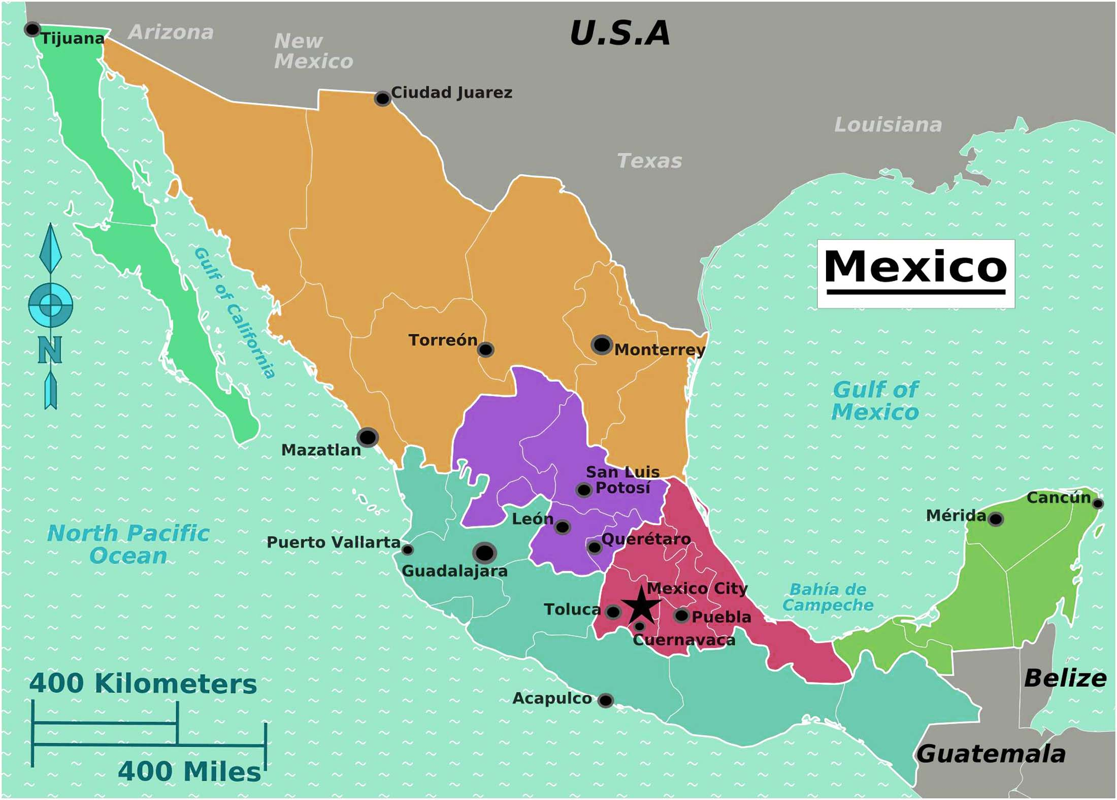 The Largest, Most Detailed Mexico Map and Flag – Travel Around The ...