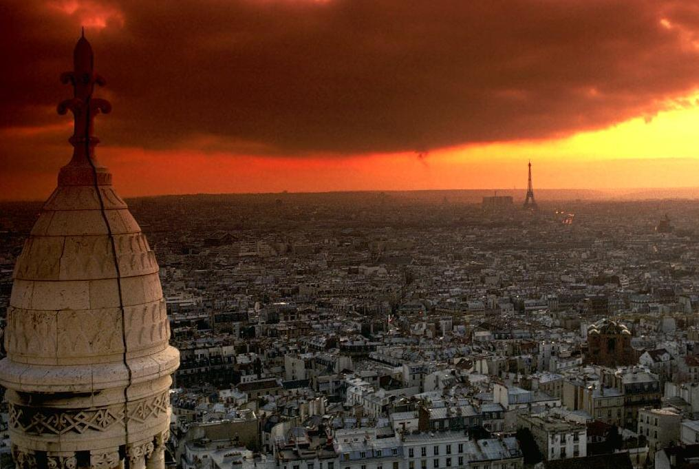 Paris Skyline And Eiffel Tower At Sunset