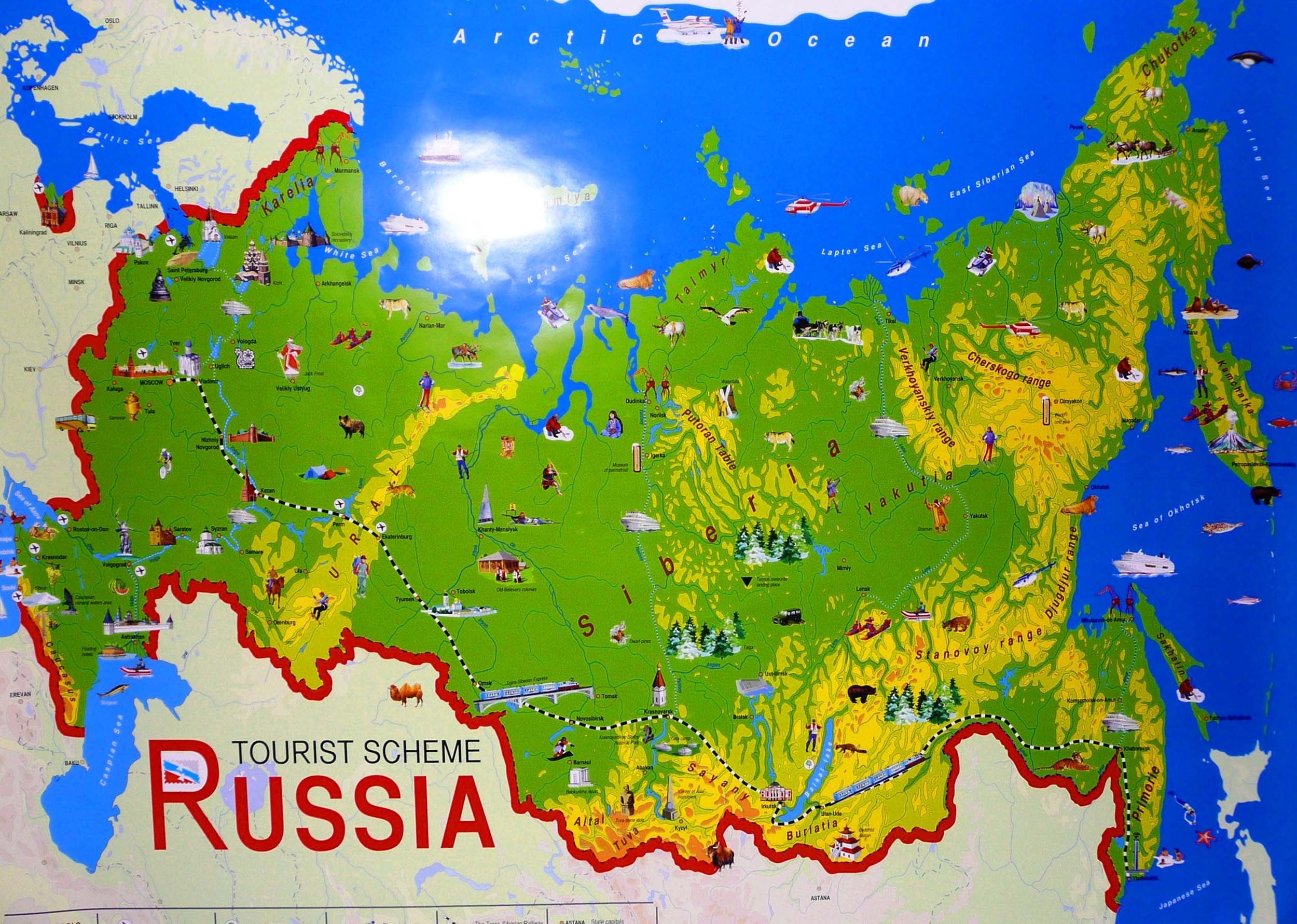 Largest Most Detailed Map and Flag of Russia Travel Around The