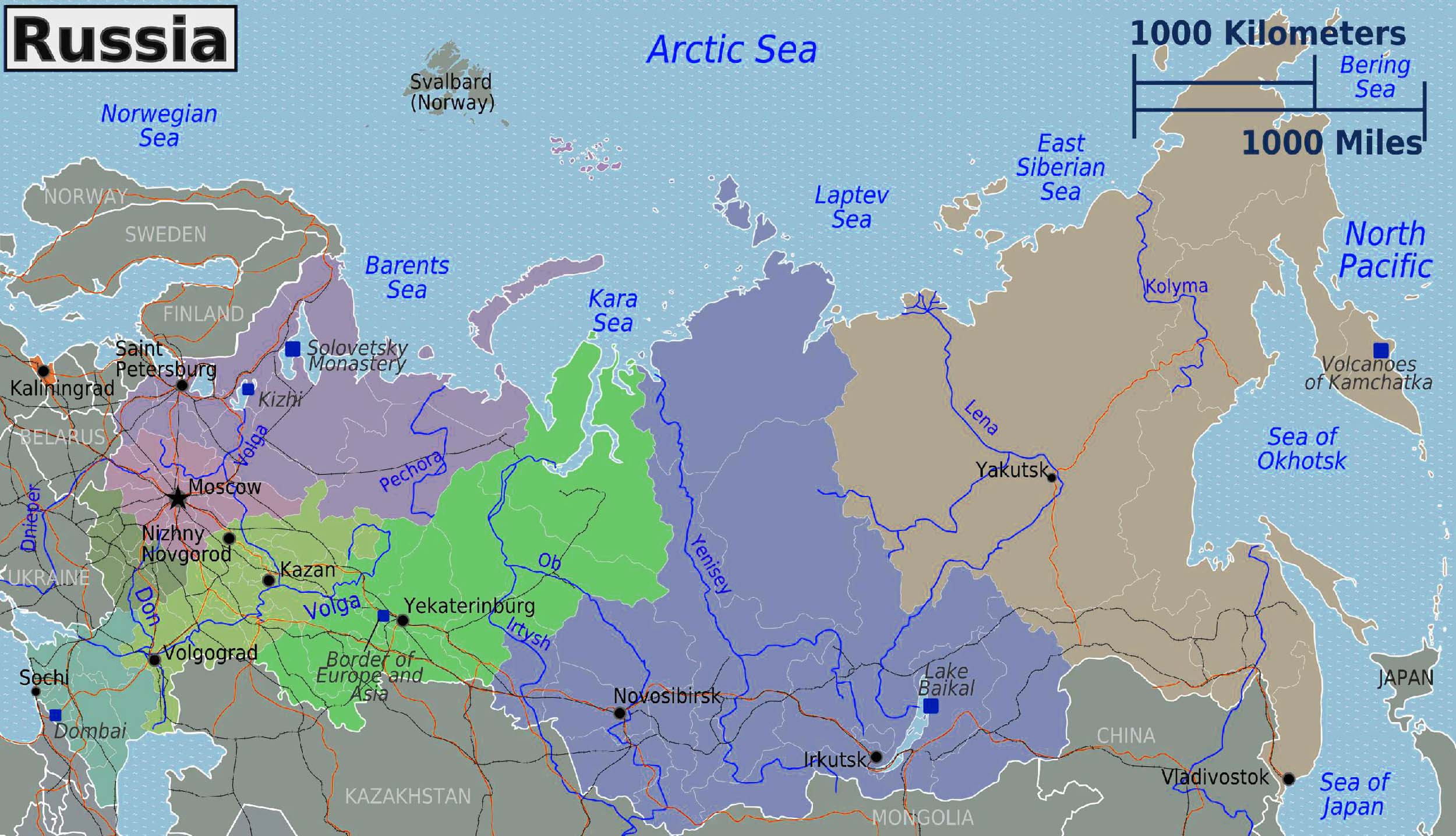 Russia Regions Map Large Size Travel Around The World Vacation - Japan map large size