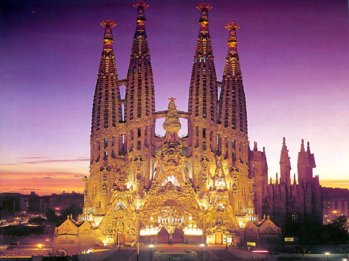 Sagrada Familia At Night Wallpaper, Barcelona Spain