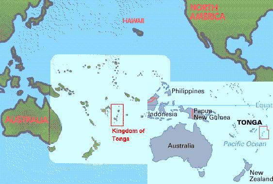Tonga Islands On World Map Travel Around The World Vacation - Tonga map