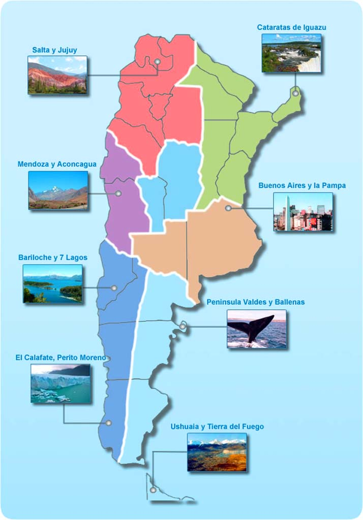 Argentina Map Showing Touristic Places For Travelers Travel - Argentina travel map