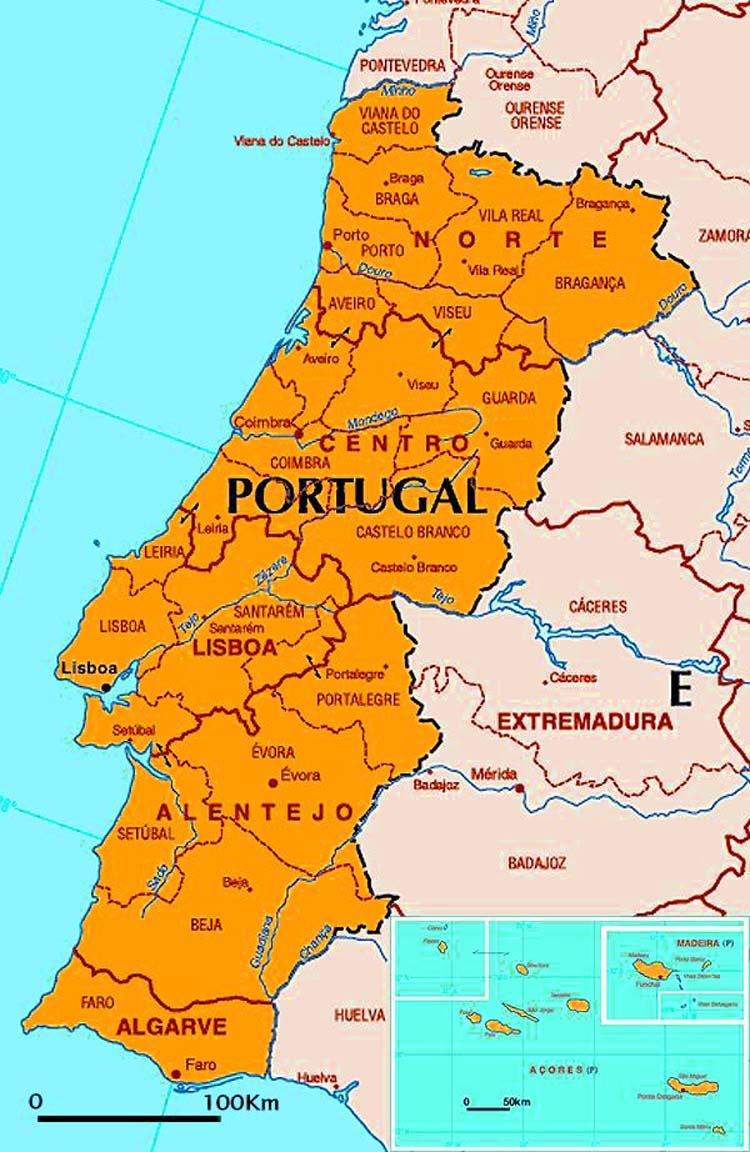 Big size detailed portugal political map travel around the world big size detailed portugal political map gumiabroncs Images