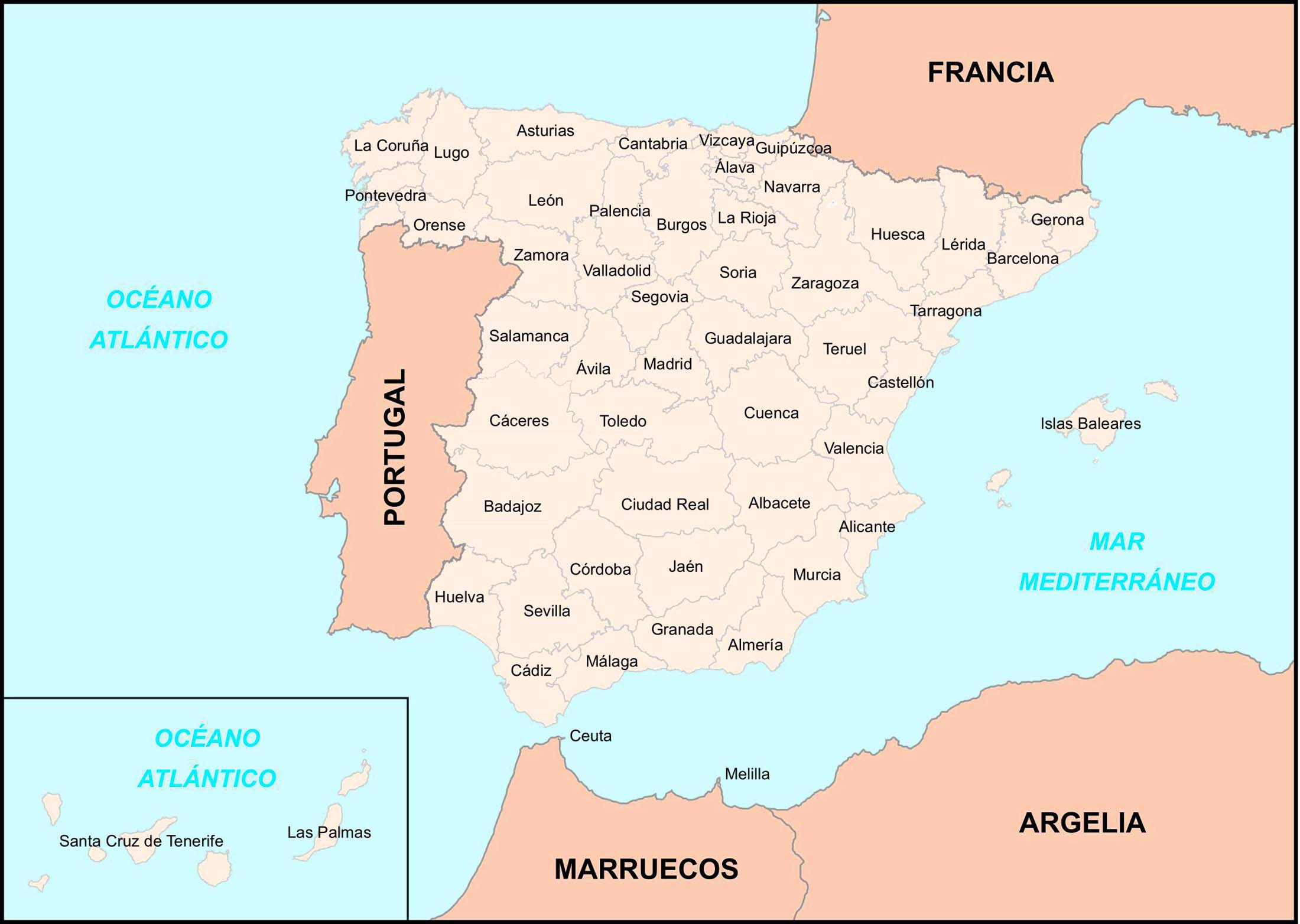 Big Size Detailed Map Of Spain Provinces Travel Around The World - Portugal map size