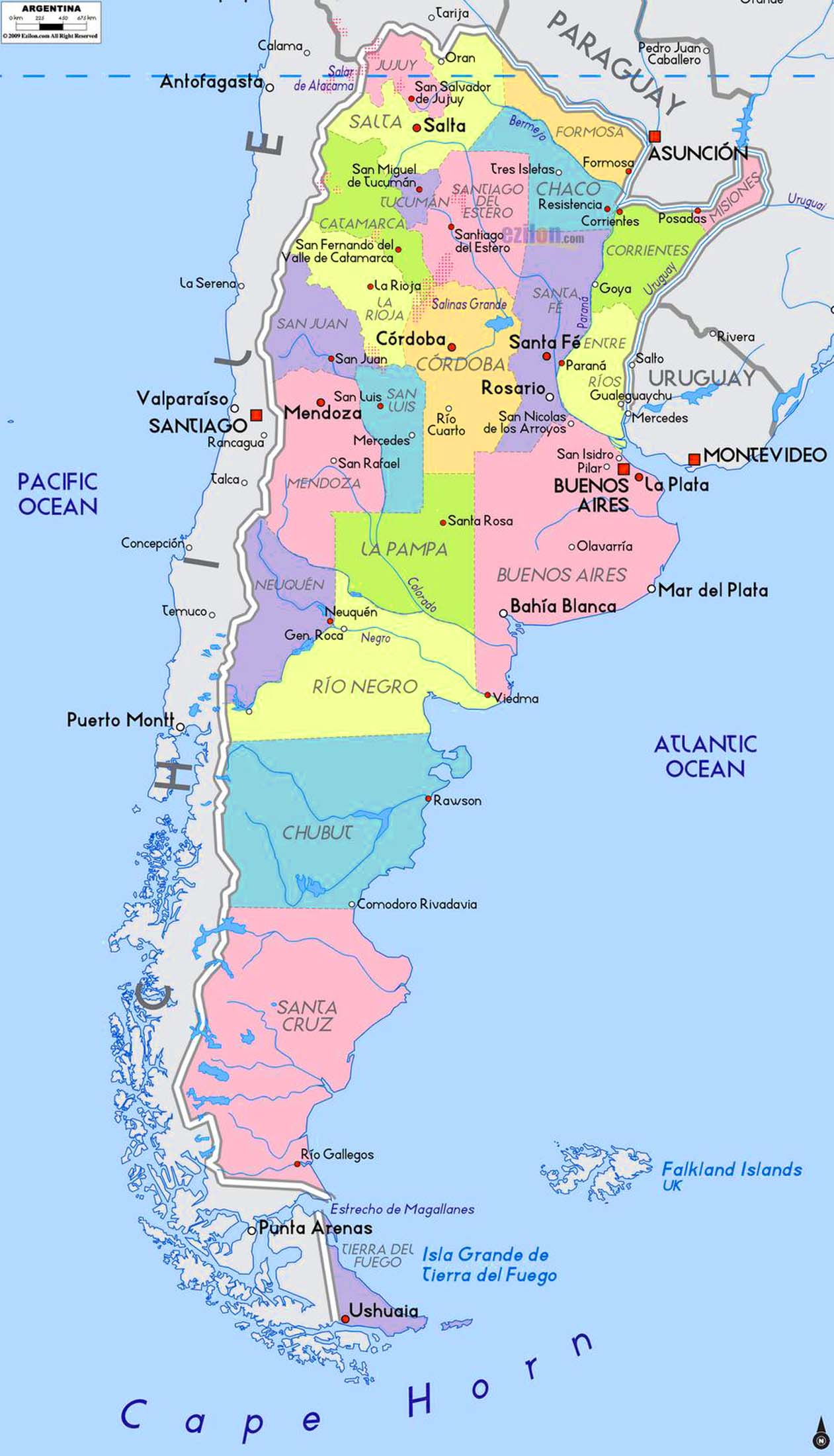 Detailed Argentina Political Map Travel Around The World - Argentina map detailed