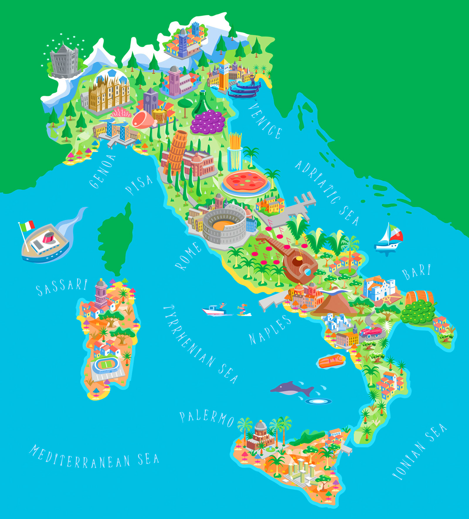 Big Size Detailed Italy Map and Flag Travel Around The World