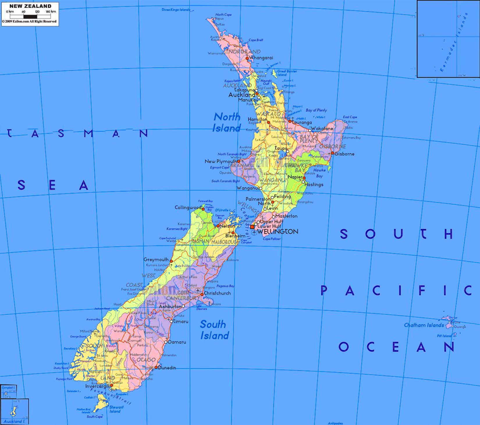 Detailed political map of new zealand travel around the world detailed political map of new zealand gumiabroncs Choice Image