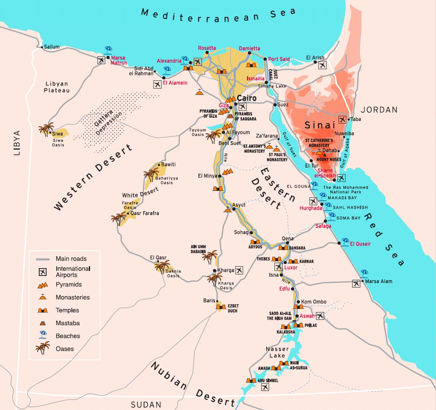 Egypt touristic map showing travel destinations travel around egypt touristic map showing travel destinations gumiabroncs Image collections