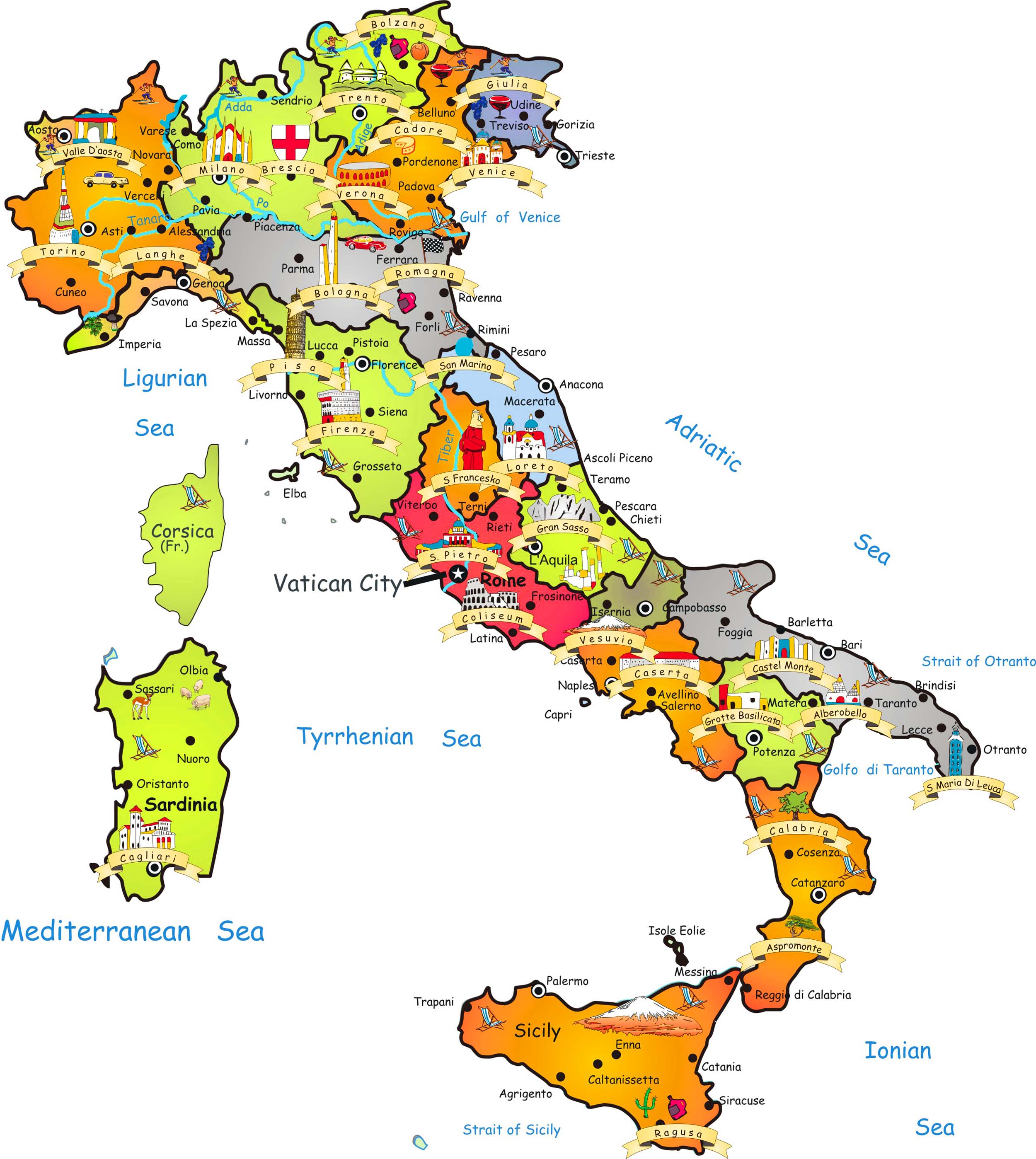 {Big Size Detailed Italy Map and Flag Travel Around The World – Italy Tourist Attractions Map