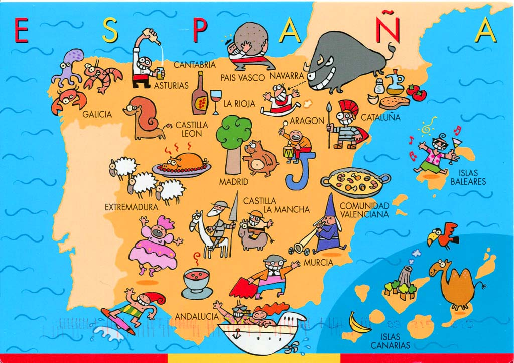 Detailed Big Size Spain Map And Flag Travel Around The World - Spain historical map