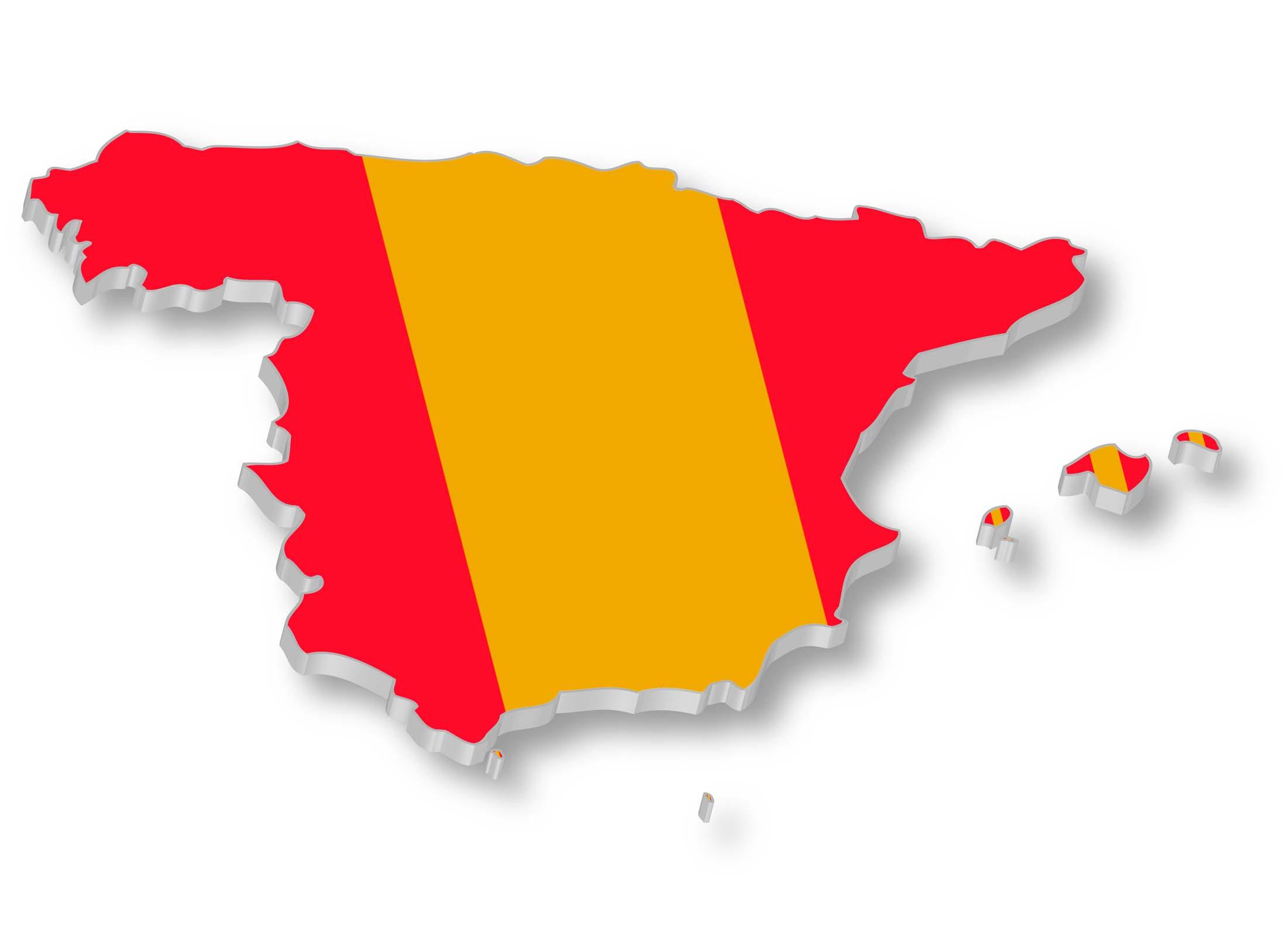 spanish flag over map of spain u2013 travel around the world