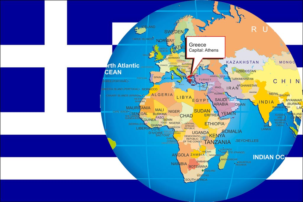 Big size detailed greece map and flag travel around the world a gumiabroncs