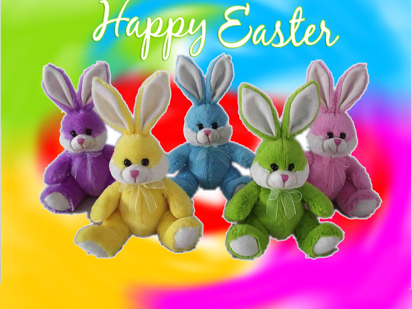 Colorful Easter Bunnies Greeting Card Travel Around The World