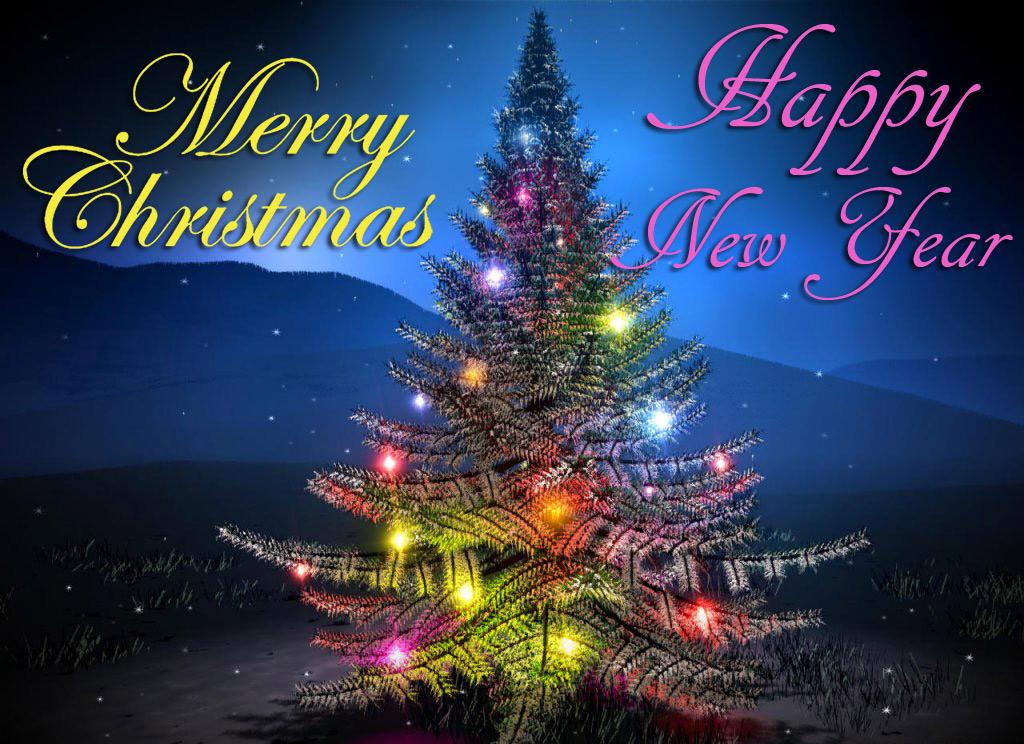 christmas tree new year ecard wallpaper