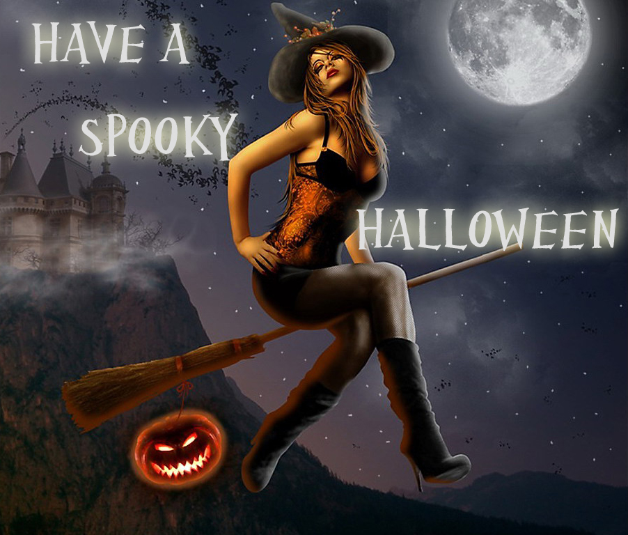 Freaky hot spooky sexy halloween greeting cards wallpapers flying broom sexy witch halloween greeting card wallpaper m4hsunfo